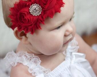 Red Shabby Headband Shabby chic Headband Baby headband rhinestone newborn headband flower headband baby girl headband