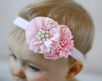 U CHOOSE COLOR Pink Baby headband, newborn girl fancy satin fabric headband, hair bow hairbow