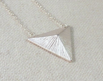 Pyramid Stud Necklace, Modern Sterling Silver Jewelry, Minimalist Geometric Triangle Necklace