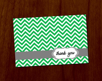 Green Chevron 4x6 Printable Thank You Card