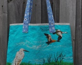 Retro Australian Water Birds Vintage Linen Tea Towel Tote