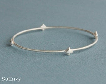 SALE-Ready to ship, Four Spade Bangle in Sterling Silver, Spade bracelet in sterling silver, Jewelry gift for Her