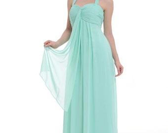 A-line Mint Halter Floor-length Chiffon Bridesmaid Dress/Prom Dress With Ruffle