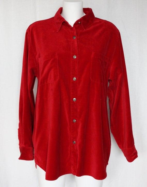 Red cotton velvet shirt vintage talbots bust 44 for Red velvet button up shirt