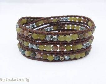 Green wrap bracelet with metal beads and crystal on brown polyester cord, stone, triple wrap bracelet