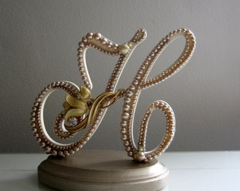 """Wedding Cake Topper in Vintage Champagne and Ivory Pearl: Letter H Rustic or Fall Weddings """"Made to Order"""""""