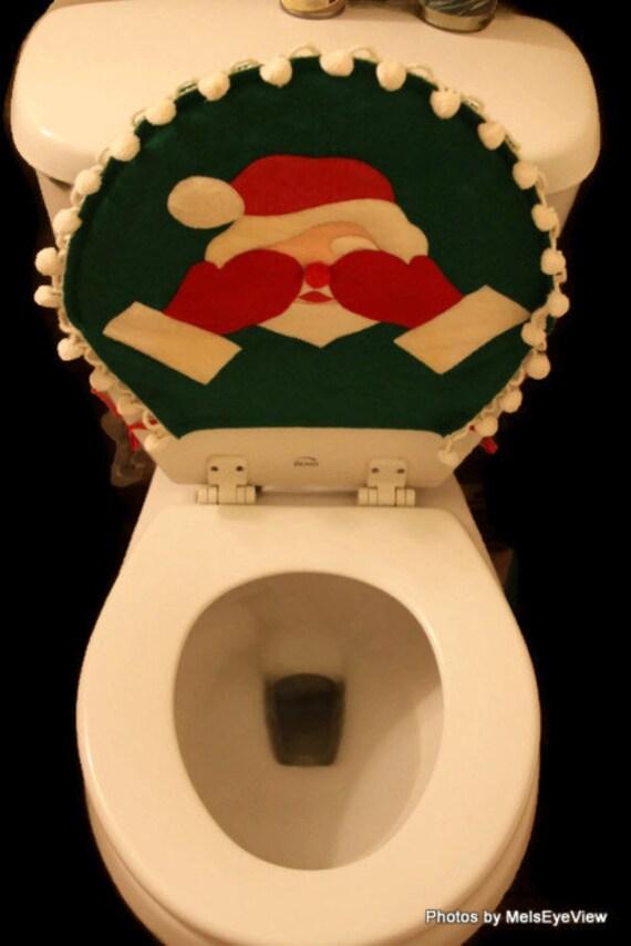 Vintage Christmas Santa Toilet Seat Cover Hiding Eyes Felt Red