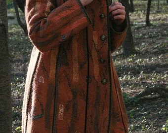 Eco and Boho fashion felted coat from natural silk and A-Grade wool (with hand embroidery, bronze furniture and antique lace) OOAK