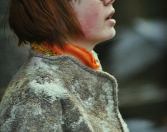 Eco style and boho chic fashion felted jacket from natural silk and A-Grade wool (with hand embroidery) OOAK - to order!