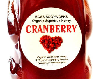 CRANBERRY Organic Honey -12oz- herbal, flavored, infused wildflower honey, non-gmo, kosher, fair trade