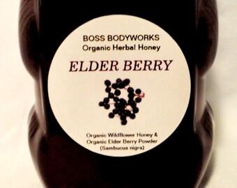 Organic ELDER BERRY Honey - 12oz- Sambucus nigra, non-gmo, kosher, fair trade infused wildflower