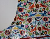 Laminated Full Sized Women's Adult Apron Art Smock with Pocket & Adjustable Pull Thru Ties - Machine Washable