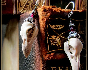 Raven Bird Skull Earrings Halloween Samhain ~ Carved antler stronger than real skulls ~ gothic garnet, silver ~ creepy oddities taxidermy