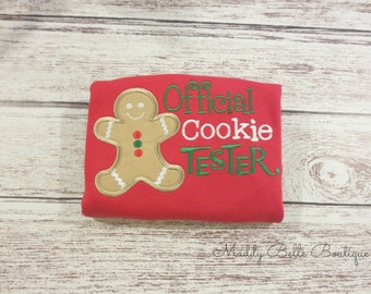 Official Cookie Tester Appliqued Shirt - Holiday, Christmas, Cookie, Cookie Tester, Boys, Girls, Toddler