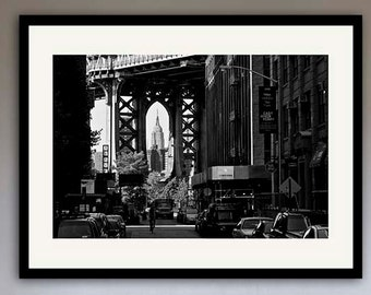 New York black and white Photography, Manhattan Bridge, Empire state building, NYC art,  urban decor, personalized home decor project
