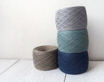 Laceweight  Linen Yarn  - dusty blue, natural grey, light grey and metallic