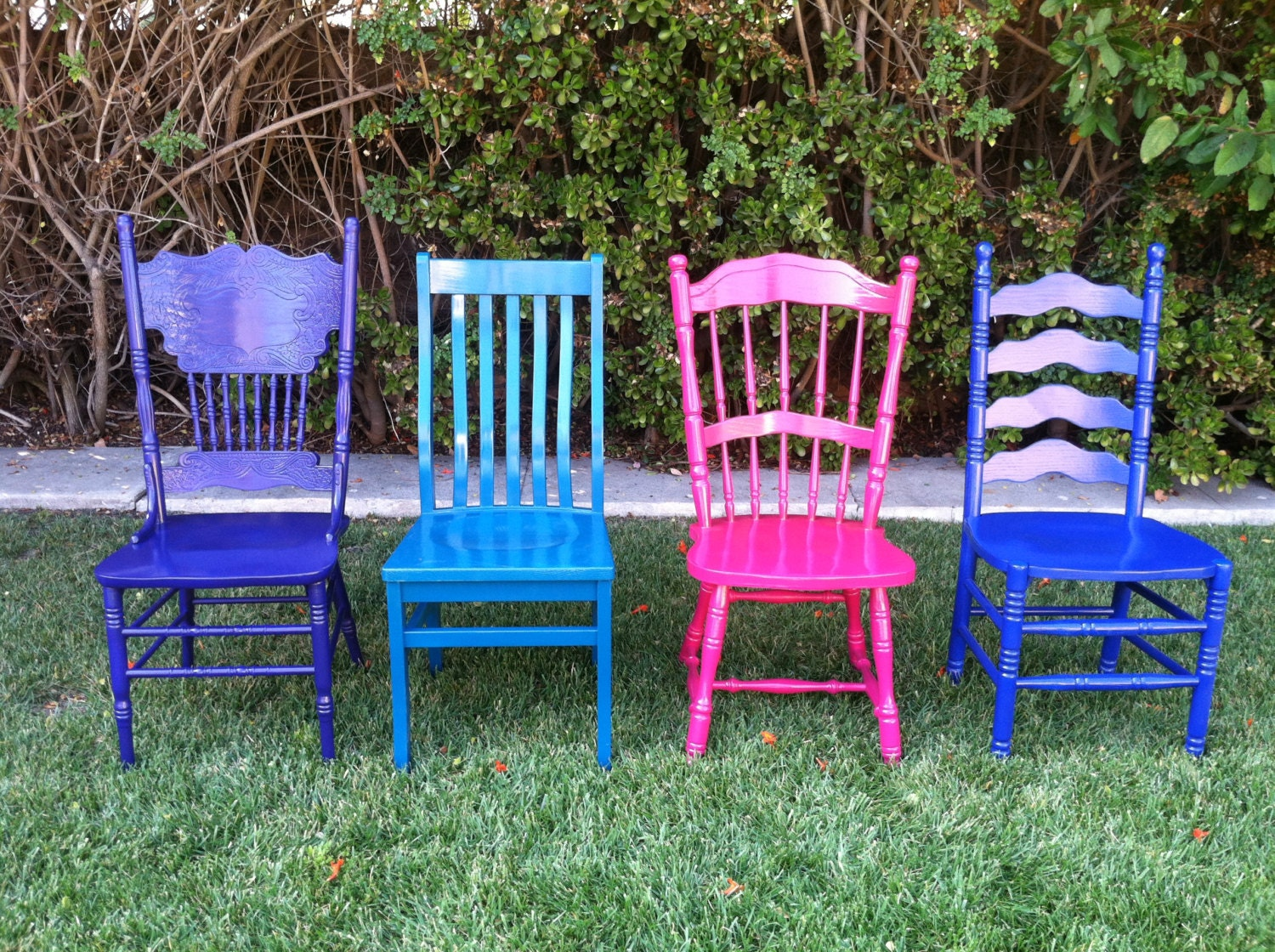 Custom color mismatched dining chairs set of 4 by for Colorful dining chairs