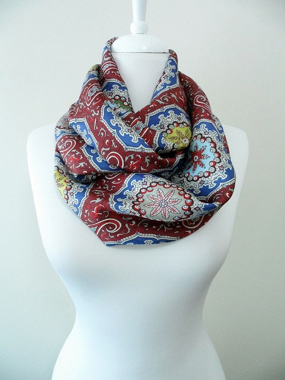tribal pattern infinity scarf colorful scarf circle