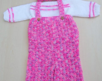 Hand knitted baby girl jumper dungarees and hat set 0 - 3 months pink mix - knitted baby clothes - baby trousers - baby girls knitwear