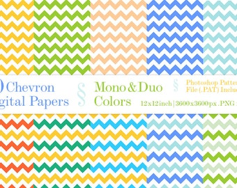 70% OFF!  30 Chevron Digital Papers - Mono&Duo Colors Photoshop Pattern File .pat included INSTANT DOWNLOAD