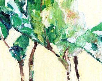 "Leaves - Oil Painting 6x8"" Original Artwork, still life, landscape, nature art, impressionist"