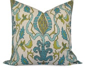Lacefield Bora Bora  in Teals and Greens on Oatmeal Pillow Cover - SAME Fabric BOTH Sides - Invisible Zipper - 18x18, 20x20, 22x22