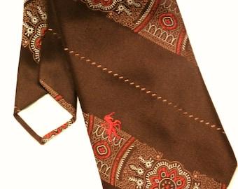 Vintage 1970s Necktie Bronzini Necktie in Brown Polyester Retro Brown Tie Vintage Wide Polyester Necktie Brown Retro Men Vintage Men Groovy
