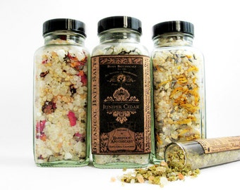 Organic Herbal Bath Salts. Juniper Cedar, Lavender Calendula, Rose Citrus, Melissa Green Tea. All Natural. Soothe & Detox. 8oz.