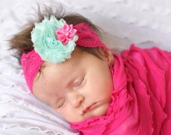 aqua and hot pink baby headband/ flower headband/ baby head band/ toddler headband