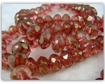 Czech Beads, 8x6mm Rondelle, Czech Glass Beads - Fuchsia Pink Luster (R8/N-0636) - Qty 12