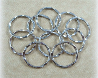 Link, Connector, Ring - Hammered Circle Link (A017AS) - Antiqued Silver - 22x1.5mm - Qty. 20