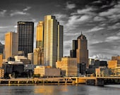 Downtown Pittsburgh Skyline Photo, selective color HDR photograph, black, white, and gold, fine photography prints, Gilded Skyline