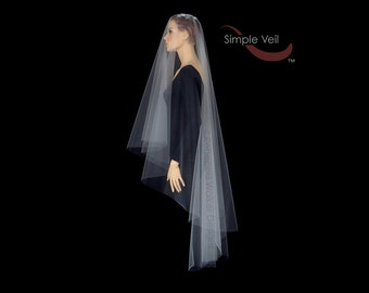 90 inch Drop Veil, Cut Edge