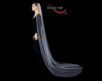 Cathedral Length Bridal Veil, Cut Edge, Simple Veil