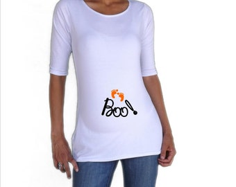 "Maternity Halloween shirt "" Boo""   Cute, Stylish, FUN  3/4 sleeves Choose your Size S, M,L,XL"