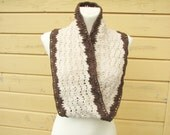 Infinity scarf Crochet circle scarf Cowl Neck warmer Mobius scarf Twisted ivory brown scarf