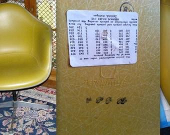 EAMES OLIVE GREEN Alexander Girard Naugahyde Ochre Chartreuse Fiberglass Armshell Vintage Herman Miller Chair Mad Men era Rare Logo Embossed