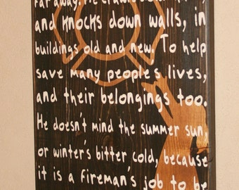 Firefighter Kids, Firefighter Nursery, Firefighter Decor, Firefighter Wall Art, Custom Wood Sign - My Daddy Is A Fireman - Female Silhouette