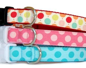 Polka dots dog collar dog leash Cute pink girl dog collar for puppy small dog large dog Turquoise boy male dog collar Valentine's dog collar