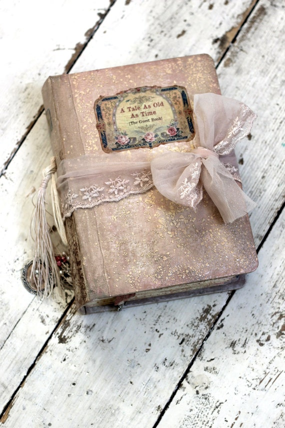 Fairytale wedding guest book, Blush pink, photo album, shabby chic wedding Photo booth album - 9x6 inch Made To Order