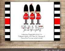 London Themed Invitation / 1st, 2nd, 3rd Boy's Birthday  / Queen's Guards Red & Black Stripes  /  England British Theme, Printable
