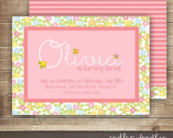 Floral Birthday Invitation / Pink and Orange Flowers  / Personalized Girl's Birthday Invitation / 1st, 2nd, 3rd Birthday  - Printable