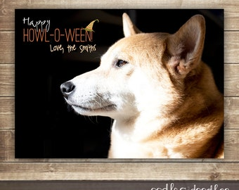 Dog Halloween Photo Card, Happy HOWL-O-WEEN Photo Card, Halloween Photo Card, Dog Halloween Card, Happy HOWL, Printable or Printed