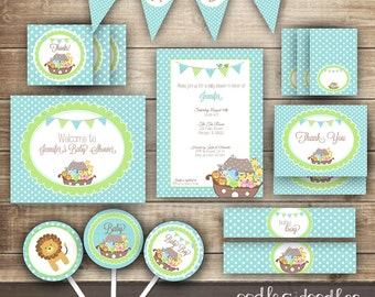 Noahu0027s Ark Baby Boy Shower Party Package / Noahu0027s Ark / Baby Shower  Turquoise, Baby