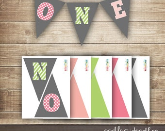 1st Birthday Pennant Banner / First Birthday Pink & Green Girl's Printable Pennant Banner / ONE banner - INSTANT DOWNLOAD - Printable