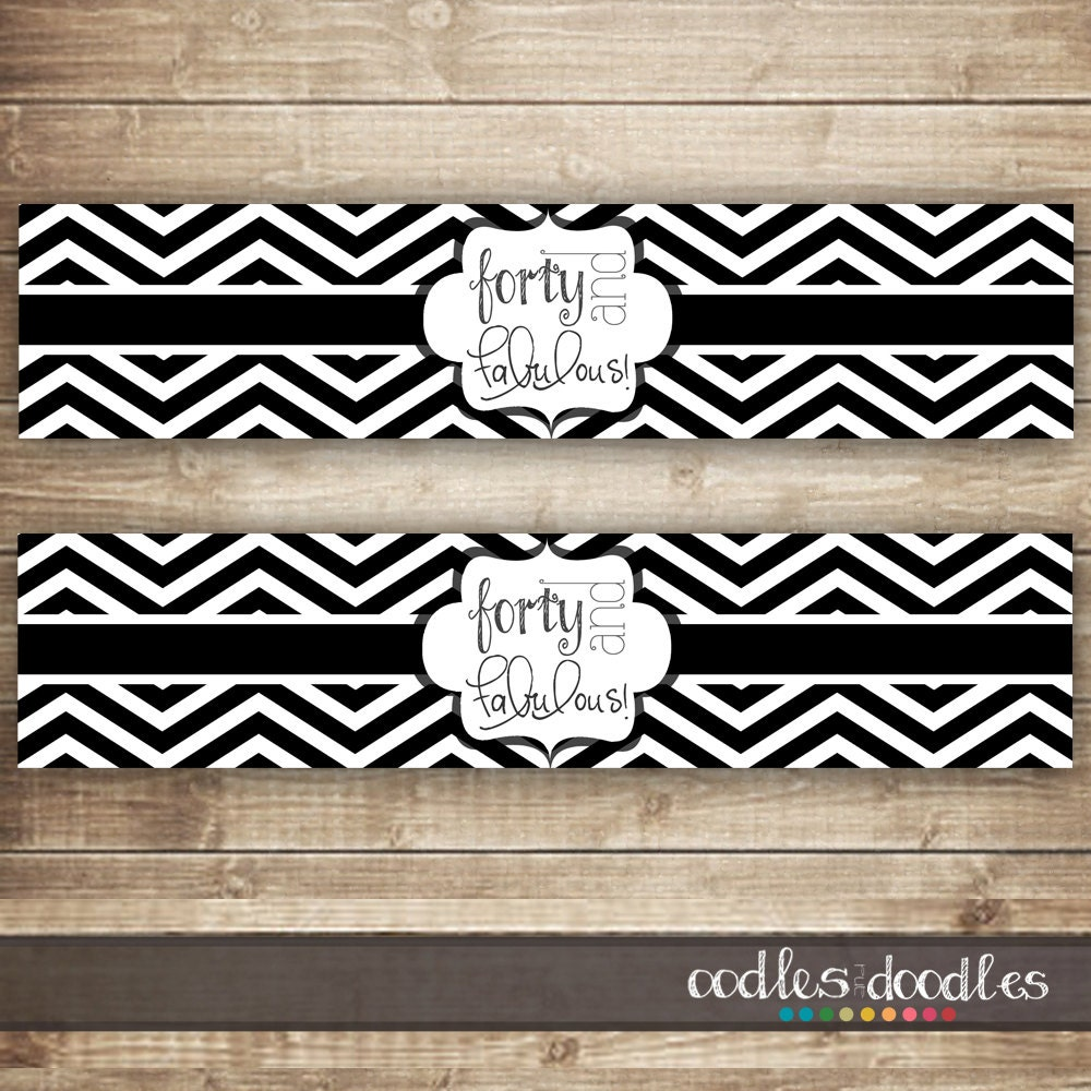 40th birthday water bottle labels black and white chevron With black and white water bottle labels