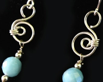 SALE....Hand Sculpted Sterling Silver with Beautiful Faceted Amazonite