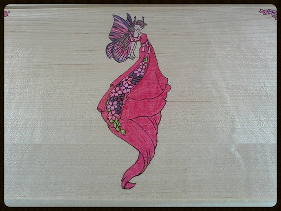 Woodburned and Colored Fairy Cigar Box - Made to Order - You pick the colors