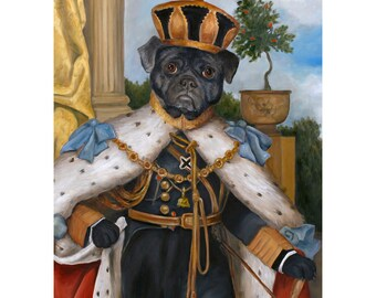 Black Pug, Buster Prints, Pug Gifts, King Pug Portrait, Dog Decor