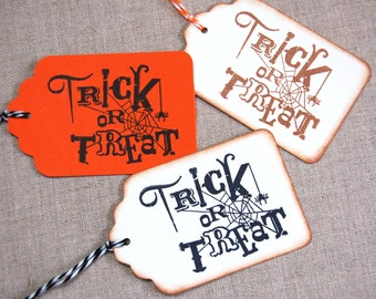 Trick or Treat Tags, Halloween Tags -Set of 6 Gift Tags w/ spider and spider's web  (gift/ goody bags, party favors)